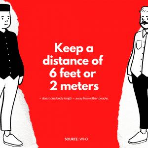 Keep a distance of 6 feet 2 meters apart